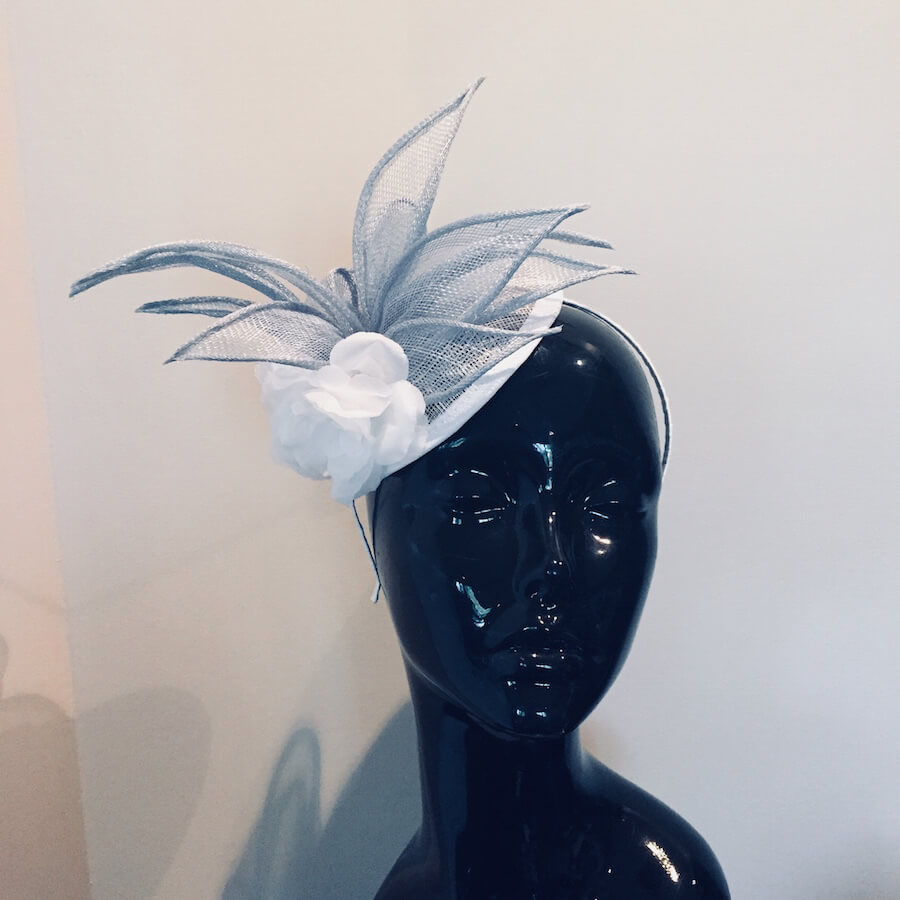 Baby Blue   White Sinamay Fascinator – Peggy s Creations e04e8513811
